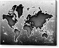 World Map Novo In Black And White Acrylic Print