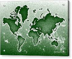 World Map Novo In Green Acrylic Print by Eleven Corners