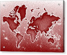 World Map Novo In Red Acrylic Print by Eleven Corners