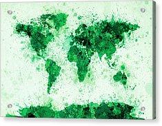 World Map Paint Splashes Green Acrylic Print