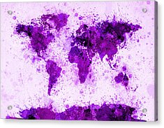 World Map Paint Splashes Purple Acrylic Print by Michael Tompsett