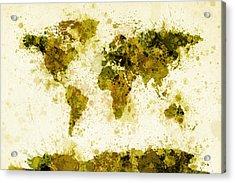 World Map Paint Splashes Yellow Acrylic Print by Michael Tompsett