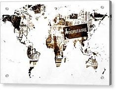 World Map Post Stamps Acrylic Print by Eti Reid