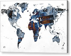 World Map Post Stamps Grunge Blueprint Acrylic Print by Eti Reid