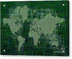 World Map Rettangoli In Green And White Acrylic Print by Eleven Corners