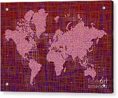 World Map Rettangoli In Pink Red And Purple Acrylic Print by Eleven Corners