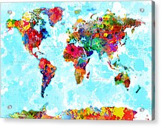 World Map Spattered Paint Acrylic Print by Gary Grayson