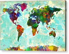 World Map Splatter Design Acrylic Print by Gary Grayson