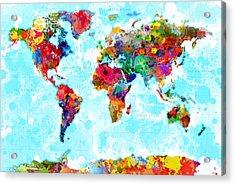 World Map Splattered Acrylic Print by Gary Grayson