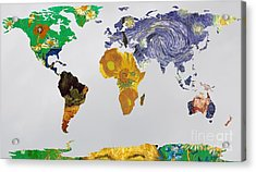 World Map Van Gogh 3 Acrylic Print