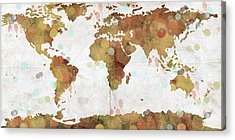 World Map Watercolor 3 Acrylic Print by Paulette B Wright