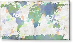 World Map Watercolor 4 Acrylic Print by Paulette B Wright