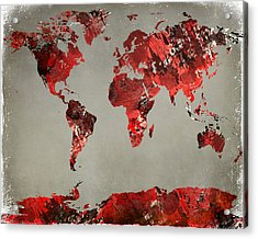 World Map - Watercolor Red-black-gray Acrylic Print