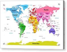 World Map With Big Text  Acrylic Print