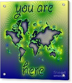 World Map You Are Here Amuza In Blue Yellow And Green Acrylic Print by Eleven Corners