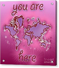 World Map You Are Here Amuza In Purple And Pink Acrylic Print by Eleven Corners