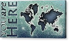 World Map You Are Here Novo In Black And Blue Acrylic Print by Eleven Corners