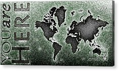 World Map You Are Here Novo In Black And Green Acrylic Print by Eleven Corners