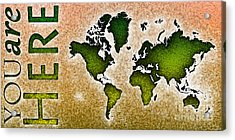 World Map You Are Here Novo In Green And Orange Acrylic Print by Eleven Corners