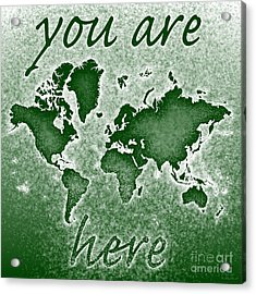 World Map You Are Here Novo In Green Acrylic Print