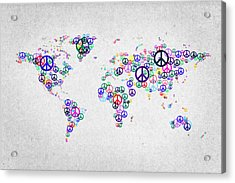 World Peace Map Acrylic Print by Aged Pixel