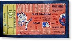 World Series Ticket Shea Stadium 1969 Acrylic Print by Melinda Saminski