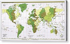 World Time Zones Acrylic Print by Library Of Congress, Geography And Map Division