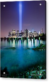 World Trade Center From The Ground Up Acrylic Print by Shane Psaltis