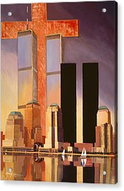 Acrylic Print featuring the painting World Trade Center Memorial by Art James West