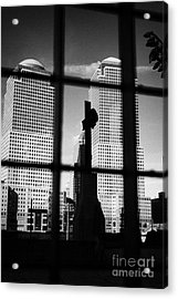 World Trade Center Memorial Cross With World Financial Centre Buildings Behind Ground Zero Acrylic Print by Joe Fox
