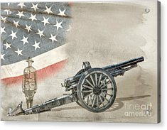 World War I Soldier And Cannon Acrylic Print