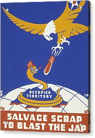 World War II 1939-1945 Anti Japanese Poster Sponsored By The Thirteenth Naval District Acrylic Print by Anonymous
