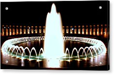 World War II Memorial And Fountain At Night Acrylic Print