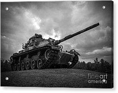 World War II Tank Black And White Acrylic Print by Glenn Gordon