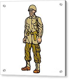 World War Two Soldier Standing Linocut Acrylic Print by Aloysius Patrimonio