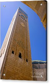 Worlds Tallest Minaret At 210m Hassan II Mosque Grand Mosque Sour Jdid Casablanca Morocco Acrylic Print by Ralph A  Ledergerber-Photography