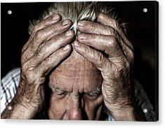 Worried Elderly Man Acrylic Print by Mauro Fermariello