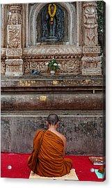 Worshiping Budha Acrylic Print by Mukesh Srivastava