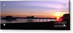 Worthing Pier Sunset Acrylic Print by Mark Bowden