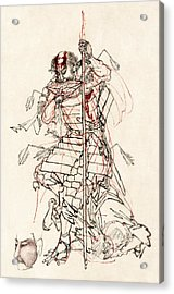 Wounded Samurai Drinking Sake C. 1870 Acrylic Print by Daniel Hagerman