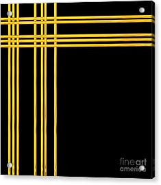 Woven 3d Look Golden Bars Abstract Acrylic Print by Rose Santuci-Sofranko