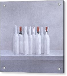 Wrapped Bottles On Grey 2005 Acrylic Print by Lincoln Seligman