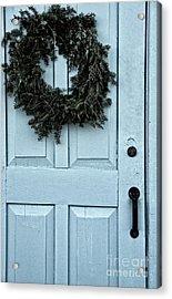 Wreath On Old Blue Door Acrylic Print by Birgit Tyrrell