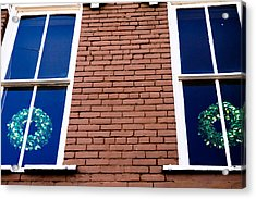 Wreaths In A Window Acrylic Print by Audreen Gieger-Hawkins