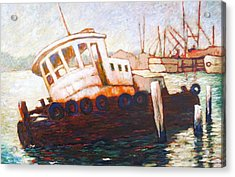 Acrylic Print featuring the painting Wrecked Tug by Charles Munn