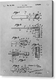 Wrench Patent Drawing Acrylic Print by Dan Sproul
