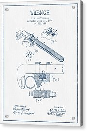 Wrench Patent Drawing From 1896- Blue Ink Acrylic Print by Aged Pixel