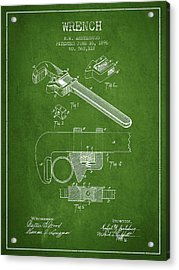 Wrench Patent Drawing From 1896 - Green Acrylic Print by Aged Pixel