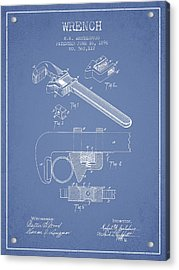 Wrench Patent Drawing From 1896 - Light Blue Acrylic Print by Aged Pixel