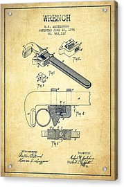 Wrench Patent Drawing From 1896 - Vintage Acrylic Print by Aged Pixel
